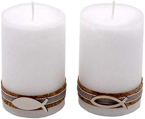 2 Stumpenkerzen Kerzen Weiß Kork Fisch Holz Tischdeko Kerzendeko Kommunion Konfirmation