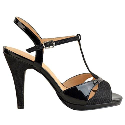 heelberry Donna Scarpe Eleganti da Cerimonia da Donna Medio Tacchi Alti Sposa luccicante Sandali Taglia Nuovo Nero vernice