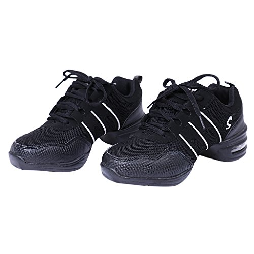 Generic Femmes Hommes Chaussures de Sport Danse Jazz Hip Hop Espadrilles Sneakers Décontractée Taille 41 Noir