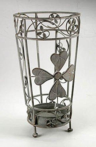 Idea casa: portaombrelli in ferro lavorato con vaschetta scolapioggia, decoro anticato