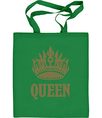 Cooles Queen Desing mit goldener Krone Jutebeutel Baumwolltasche Grün