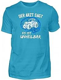 Shirtee Hochwertiges Herren Premiumshirt - Landwirtschaft  Traktor  Unheilbar Blau · Geschenk für Landwirte und… 4852cf21ad