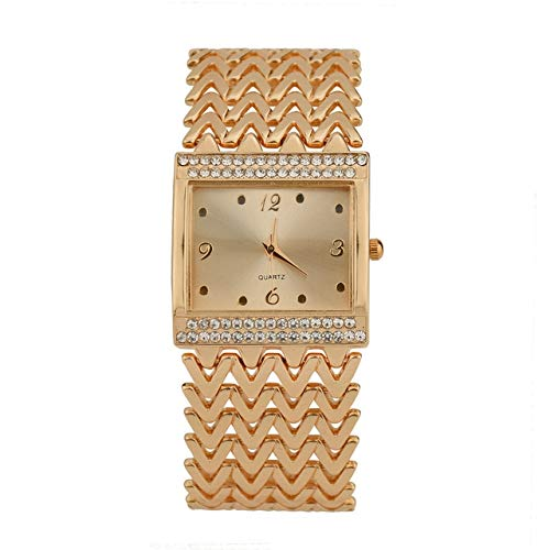 NoNo 2PCS beiläufige Diamant-besetzte quadratische Quarz-Armband-Uhr Uhr (Farbe : Rose Gold)