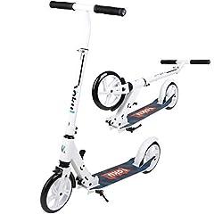 Idea Regalo - Vokul Monopattini Freestyle Scooter City Urban Pieghevole con 2 Ruote Grandi, Supporto Regolabile per Altezza / Kick, fino a 100 kg (Bianca)