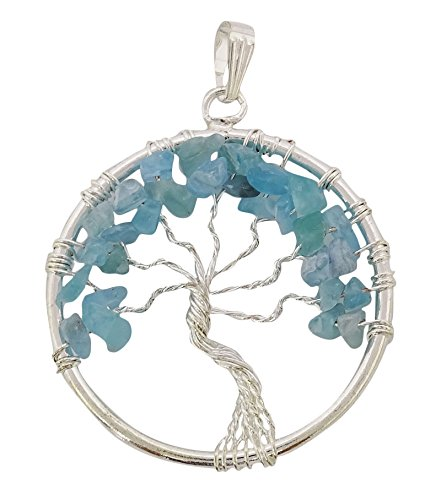 Armonizzare albero della vita chakra bilanciamento terapia amazzonite chips ciondolo pietra di guarigione reiki, cristallo, blue, black gift pouch
