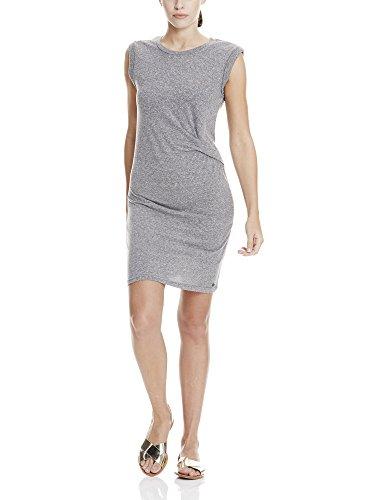 Bench Damen Kleid Draped Knot Jersey Dress Grau (Asphalt Marl MA1018) 40 (Herstellergröße: L)