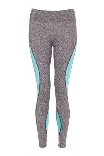 Bande latérale Yoga Gym Vêtement actifs Leggings Pantalon pour Femmes Turquoise