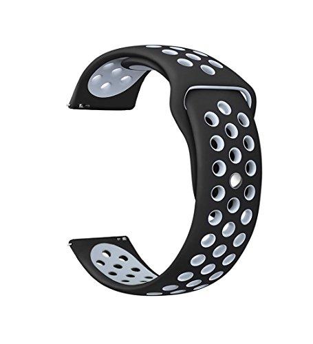 Ersatzband für Gear s3 Armband Silikon, MoTech 22mm Weich Uhrenarmband Sportarmband Silikonarmband Sport Silicone Band für Samsung Gear S3 Frontier/Classic, Moto 360 2nd Gen 46mm - Männer Sport-armband Für