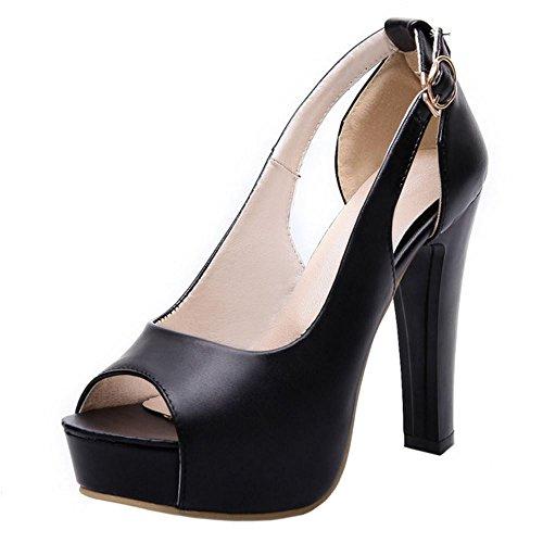 COOLCEPT Femmes Mode Slip On Sandales Peep Toe Conique Talon hauts Chaussures Noir