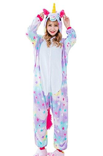 Aidonger Einhorn Kostüm Pyjama Jumpsuit Unisex Kinder Erwachsene Cosplay(Sterne,M)
