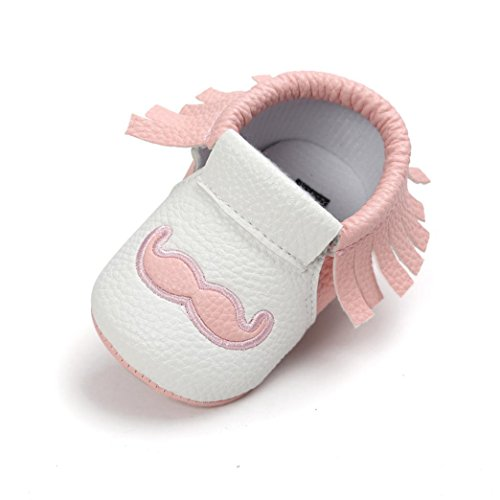 Babyschuhe Longra Baby weiche Quaste Brief weiche Sohle Kleinkinder PU Leder Schuhe Quaste Krabbelschuhe Lauflernschuhe für Mädchen und Jungen(0 ~ 18 Monate) Pink