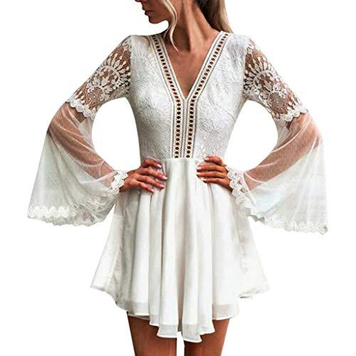 Kingko ® Tunika Kleid Damen Langarm Gerafft Schmeichelhaft Lose Casual Swing Kleid Lose T-Shirt Kleid Strandkleid Boho Tunika Sommerkleid (XL, helles Weiß) -