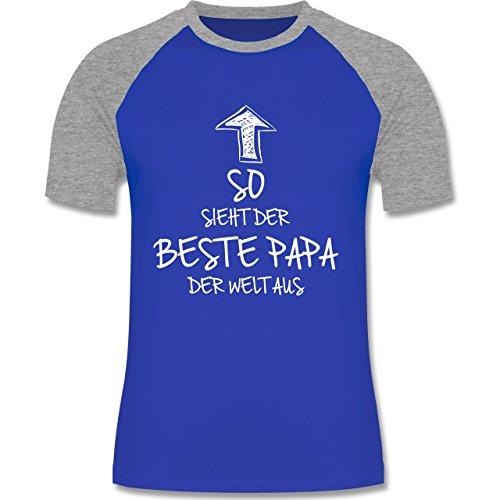 Shirtracer Geburtstag - So Sieht der Beste Papa der Welt Aus - Herren Baseball Shirt Royalblau/Grau meliert