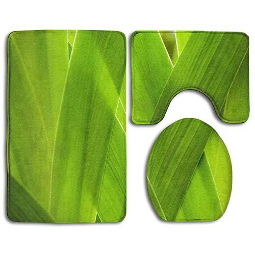 DFHome Badezimmer-Matte stellt 3 Stück EIN Bathroom Rug Mats Set 3 Piece, Growth Leaves Print Non-Slip Bath Rugs + Toilet Seat Cover + Contour Mat -