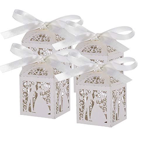 Pixnor 100pz matrimonio dolci caramelle scatole regalo favore - coppia design (bianco)