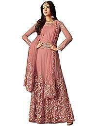 201585da45 Pink Floral Embroidered Bottom Straight Net Salwar Kameez Suit 7675