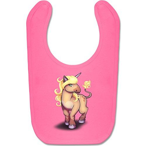 Tiermotive Baby - Einhorn Pony - Unisize - Pink - BZ12 - Baby Lätzchen Baumwolle