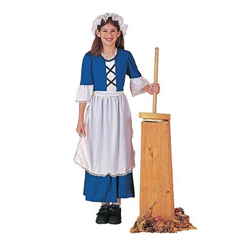 Colonial Mädchen Kostüm Siedler blau weiß Schürze Motorhaube Mädchen Kind