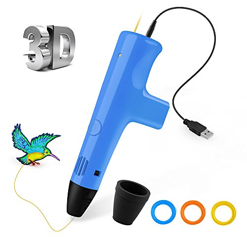Ophysprint 3D Drucker Stift Set DIY Scribbler 3D Stereoscopic Printing Pen Drawing, 3 x 10M PLA Filament ( Blau Rot Gelb ), Freihand 3D Zeichnungen, für Kinder Erwachsene Kunstwerken (Blue) (', Kunstwerk)