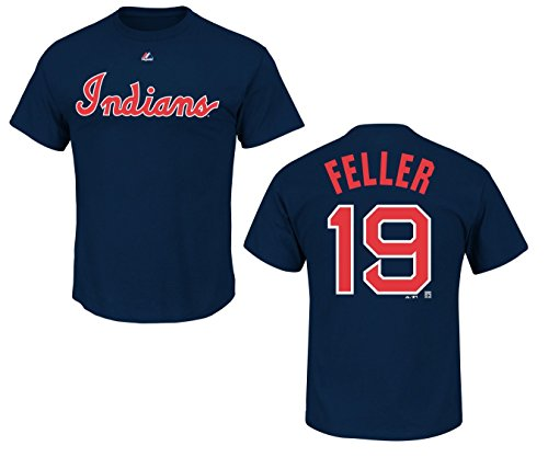 MLB Baseball Cooperstown T-Shirt Cleveland Indians Bob Feller #19 in SMALL (S) (Baseball-shirt Indian)