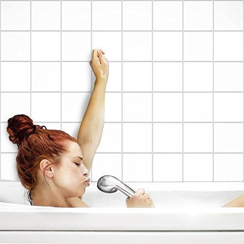 Creme Bodenfliese (Fliesenaufkleber für Küche und Bad | Fliesenfolie für 15x15cm Fliesen | einfarbig weiß matt | 52 Stück | Klebefliesen günstig in 1A Qualität von PrintYourHome)
