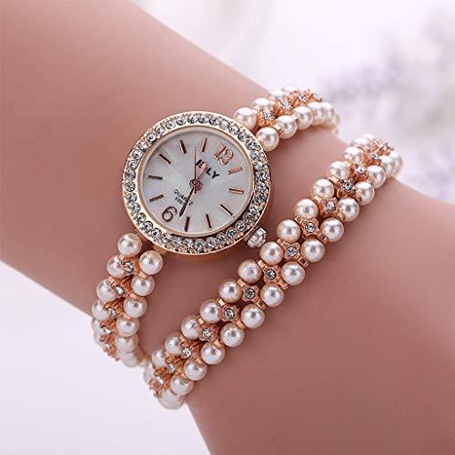 LLCOFFGA Damen Armbanduhr Mode Perle Uhr Strass Armreif Quarz Armbanduhren Armband Schmuck, Geschenke Zum Muttertag Zum Valentinstag,Gold
