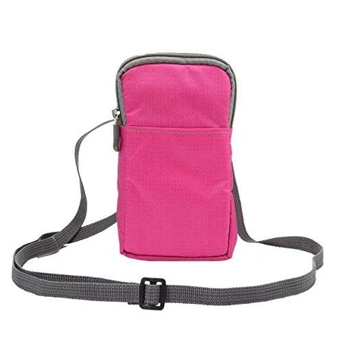 Gendax multifunzione sport marsupio, Marsupio in nylon impermeabile piccolo portafoglio con tracolla, Cell Phone Pouch, Outdoor Fanny cintura tasche per ciclismo, pattinaggio, corsa, escursionismo Jogging, Walking Dog, Pink