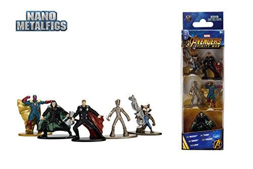 Jazwares Nano metalfigs–Marvel Avengers Infinity War–Pack de 5Figuras de 4cm (Thor, Rocket, Teenage Groot, Loki, Vision), 99920