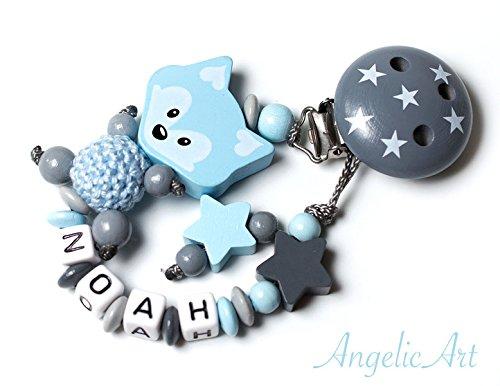 Schnullerkette mit Namen - Junge Mädchen - VIELE MODELLE - Häkelperle 3D Tiere Motivscheiben (021 blau, grau)