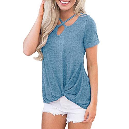 Sommer Kurzarm T-Shirt,Jaminy Tops Oberteile Casual Pulli Casual Bluse Tops Kurzarm Oberteil S-XL (XL, Blau)