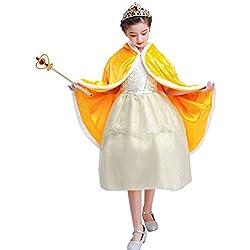 Vicloon Capa Disfraces de Princesa Costume para Niñas y Accesorios Tiara / Corona,Cetro para Niña Cosplay Fiesta Cumpleaños Navidad, 3-10 Años