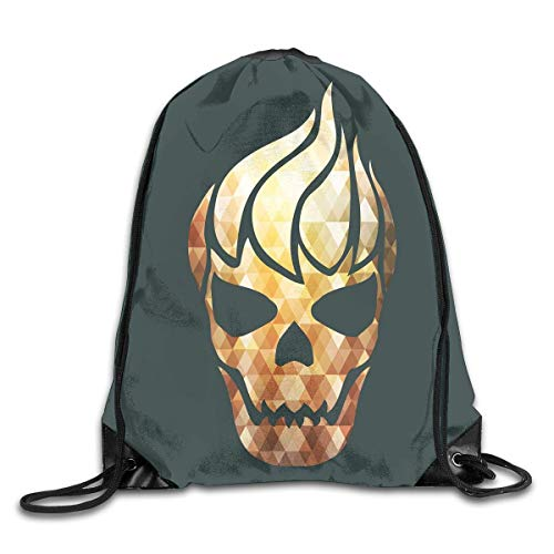 Naiyin Drawstring Backpacks Bags,Gothic Skull with Fractal Effects In Fire Evil Halloween Concept,5 Liter Capacity,Adjustable