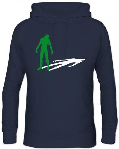 Shirtstreet24, ZOMBIE SHADOW, Halloween Zombies Herren Kapuzen Sweatshirt Hoodie - Pullover , Größe: S,Navy