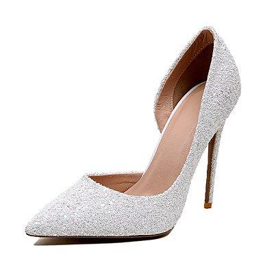 Zormey Frauen Heels Frühling Sommer Club Schuhe Kunstleder Hochzeit Party & Amp; Abendkleid Stiletto Heel Mandel Blau Weiß US8 / EU39 / UK6 / CN39
