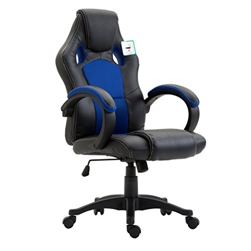 CTF Sport Racing Gaming PU Leather & Fabric Swivel Office Chair (Blue)