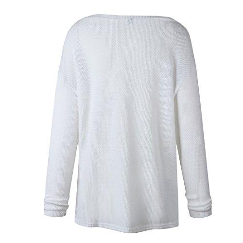 Smalltile Donna Inverno Autunno Maglie Moda Sweater Felpa Casual Sciolto a Manica Lunga V Scollo Maglione Eleganti Jumper Sweatshirt Pullover Tops Bianca