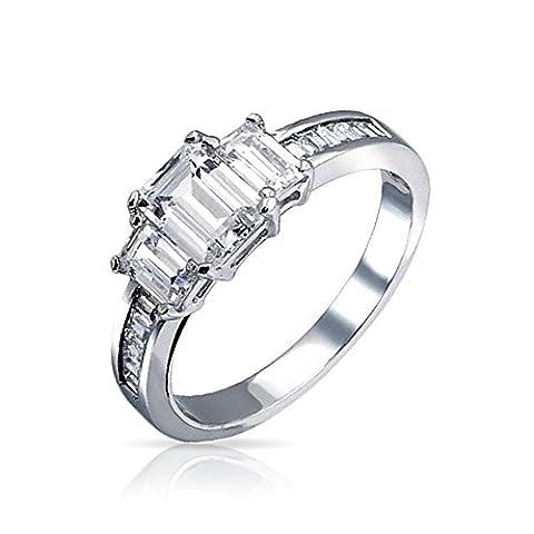Bling Jewelry Asscher Cut 3 Stone CZ bague de fiançailles Argent 925