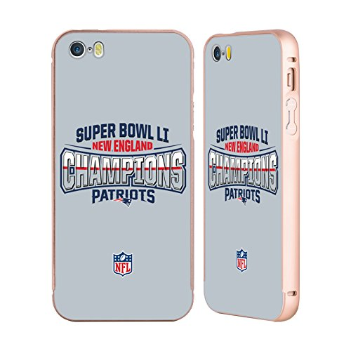 Ufficiale NFL New England Patriots 1 2017 Super Bowl Li Champion Oro Cover Contorno con Bumper in Alluminio per Apple iPhone 5 / 5s / SE New England Patriots 2