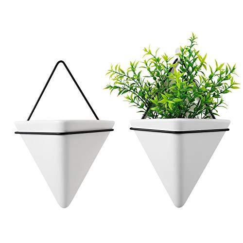 T4U Jardinera Triangular, Conjunto de 2 Jarrón de Jardinera Colgante & Maceta Geométrica Decoración de la Pared Planta de Aire Contenedor para Decoración Regalo para Cumpleaños o Boda (Large)