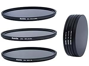 Slim Neutral Graufilter Set bestehend aus ND8, ND64, ND1000 Filtern 67mm inkl. Stack Cap Filtercontainer + Pro Lens Cap mit Innengriff