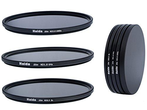 Slim Graufilter Set bestehend aus ND8, ND64, ND1000 Filtern 58mm inkl. Stack Cap Filtercontainer + Pro Lens Cap mit Innengriff
