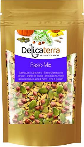 Delicaterra Basic-Mix Kernemischung 750g, Mischung aus gerösteten Buchweizen, Kürbiskernen und Sonnenblumenkernen, Knabberspaß in wiederverschließbaren Standbeutel, Salatkerne, Knabberei, Vorteilspack