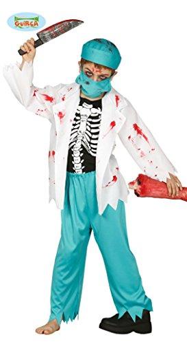 Guirca Skelett Arzt Kostüm für Kinder Kinderkostüm Chirurg Kittel Ärztin Arztkostüm Jungen Mädchen Gr. 110-146, Größe:140/146