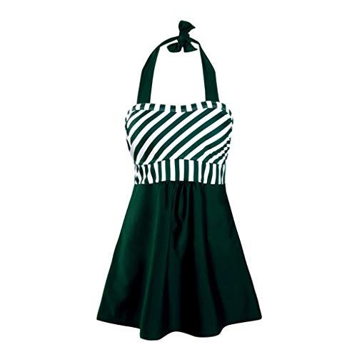 Yvelands Damen Plus Size One-Piece Bikini Rückenfreier Streifen Print Bademode Beachwear Tankini Set(Green,XXXL)