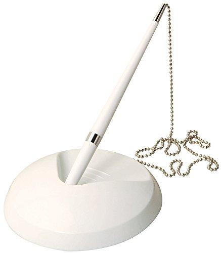 Weißer Rezeptions-Stift an Kette, mit Ständer + 3Nachfüllminen-für Banken, Schreibtische, Hotels & Hochzeiten