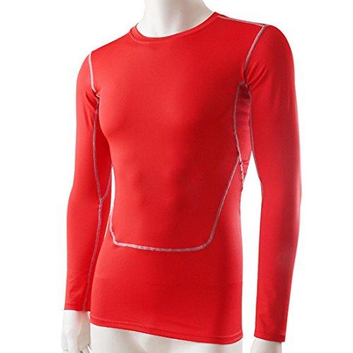 Vertvie Herren Pro Sport Langarmshirt Kompressionsshirt Muskelshirt Rot