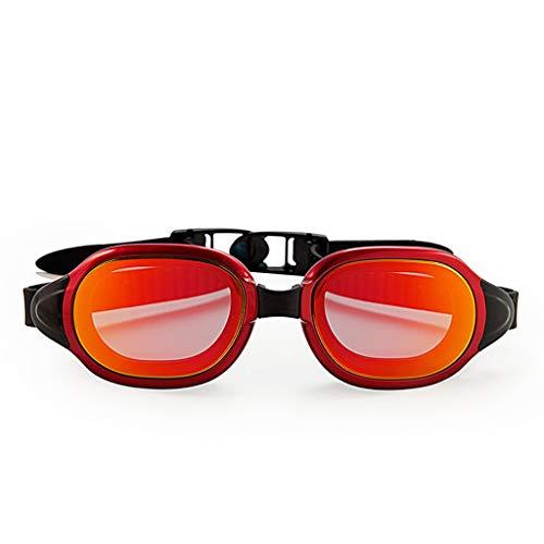 ZTMN Schwimmbrille HD wasserdichte Anti-Fog-Brille Männer und Frauen komfortable Beschichtung Sport Freizeit (Farbe: ROT)