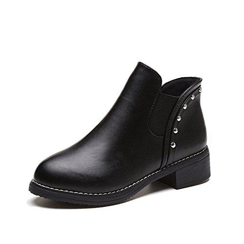 AILU Chelsea Boot Damen Leder Stiefeletten Gefüttert Warm Runde Zehen Nieten Winter Stiefel Ankle Boots mit Blockabsatz (Runde Zehe Leder Stiefel)