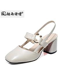 KPHY Mediados De Verano Sandalias Zapatos De Tacon Zapatos De Mujer Zapatos De Tacon Media Hueca Baotou .Treinta...