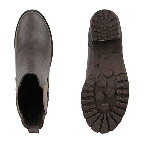 Damen Stiefeletten Chelsea Boots Profilsohle Blockabsatz Grau Snake